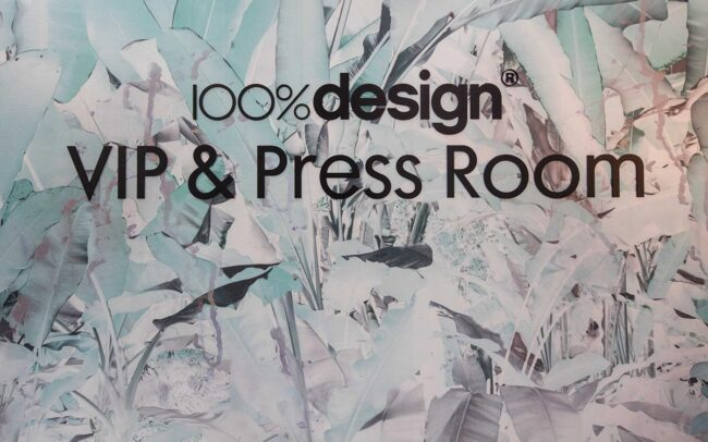sign for the VIP & Press room at the 100% Design interiors show Featuring Elli Popp wallpaper